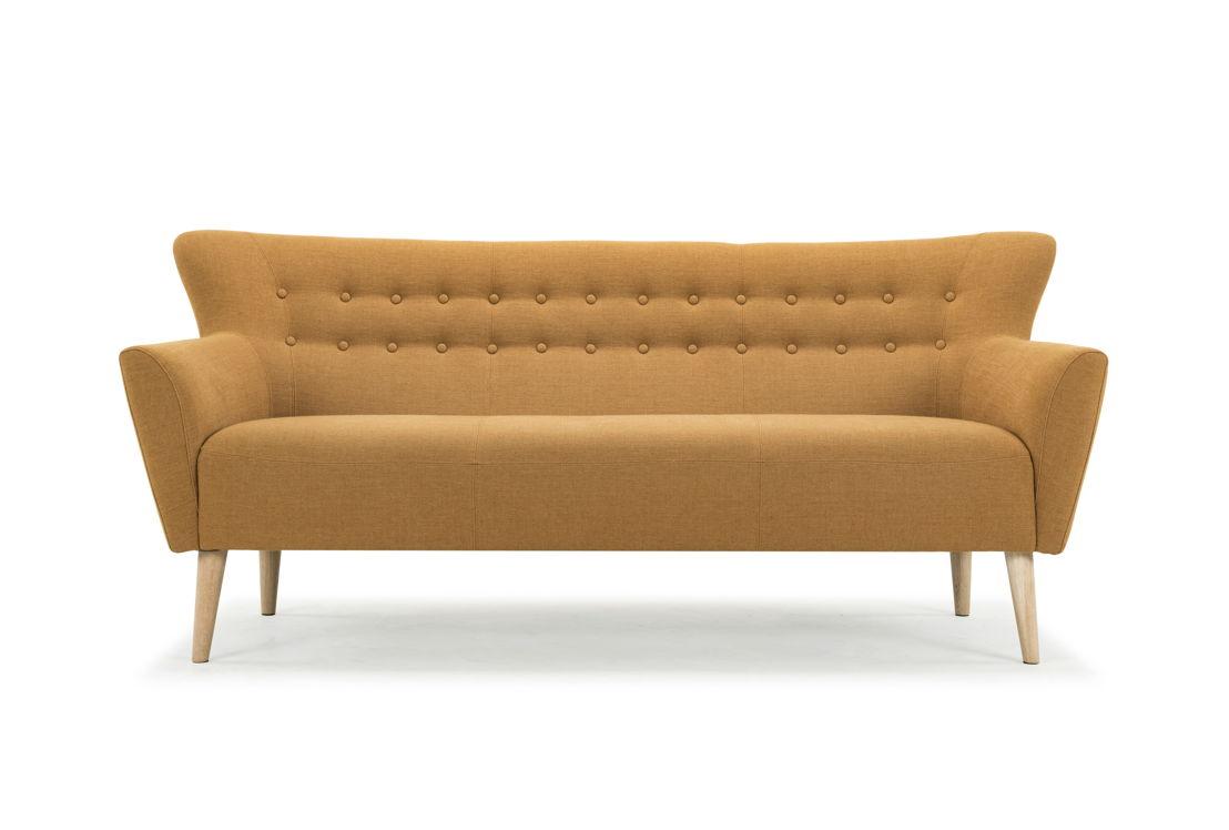 Ellen, 3-seater sofa, Legend Orchre, Oak Soap Legs