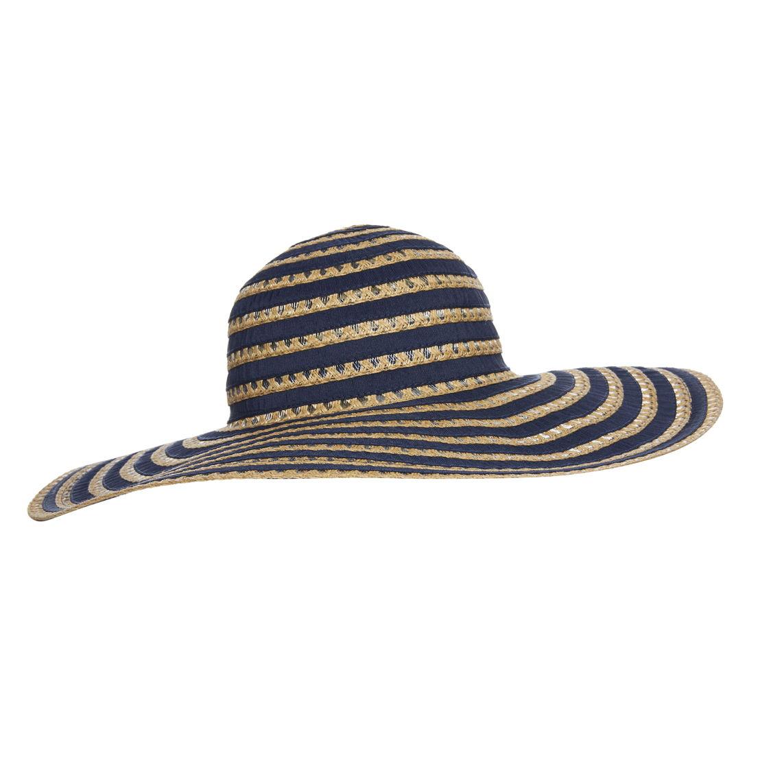 Navy ribbon stripe straw floppy hat - €5