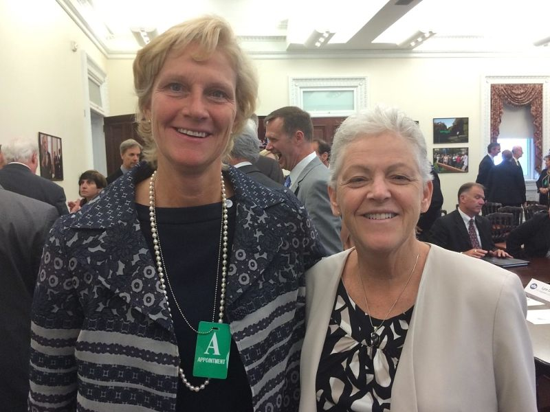 Left, Laura Wand, vice president, global chiller solutions at Johnson Controls Building Efficiency business, right, Gina McCarthy, U.S. Environmental Protection Agency administrator