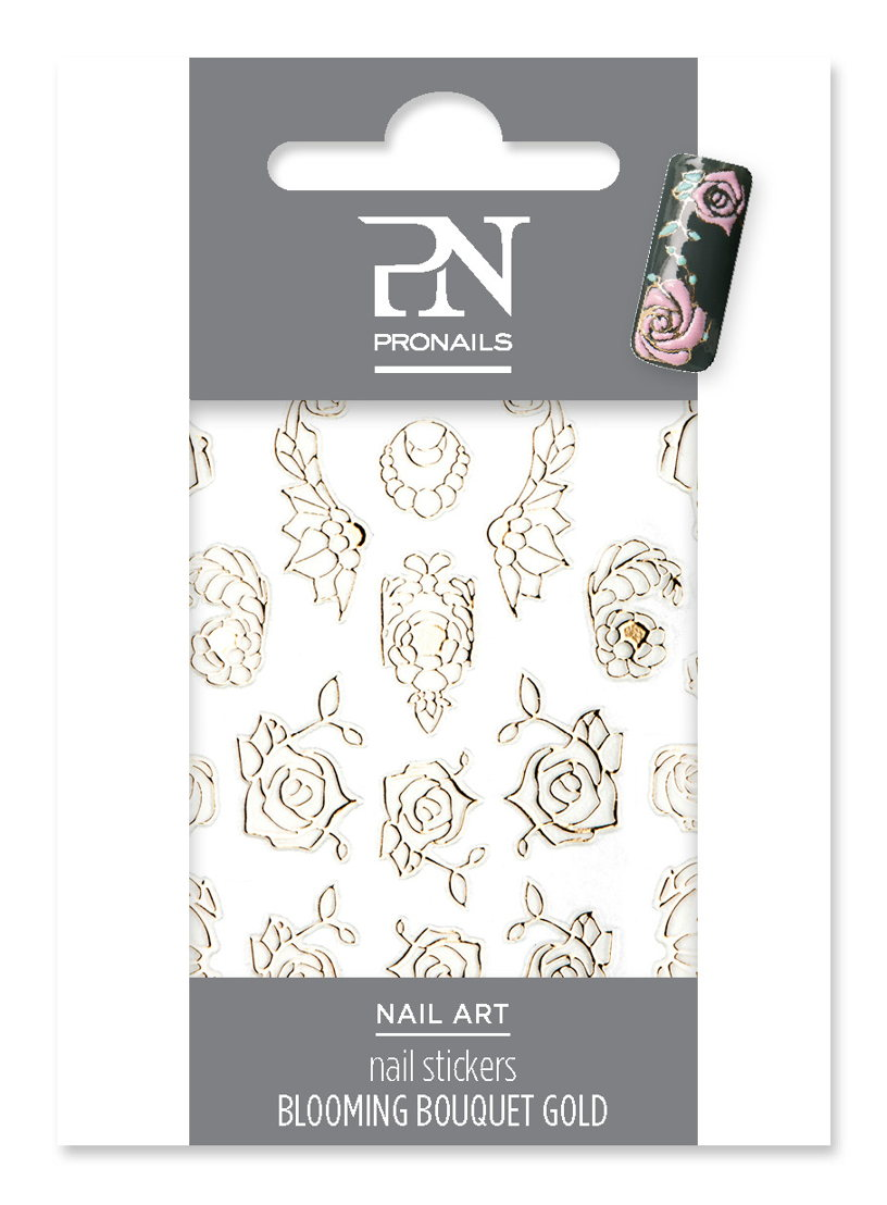 Nail stickers Blooming Bouquet Gold