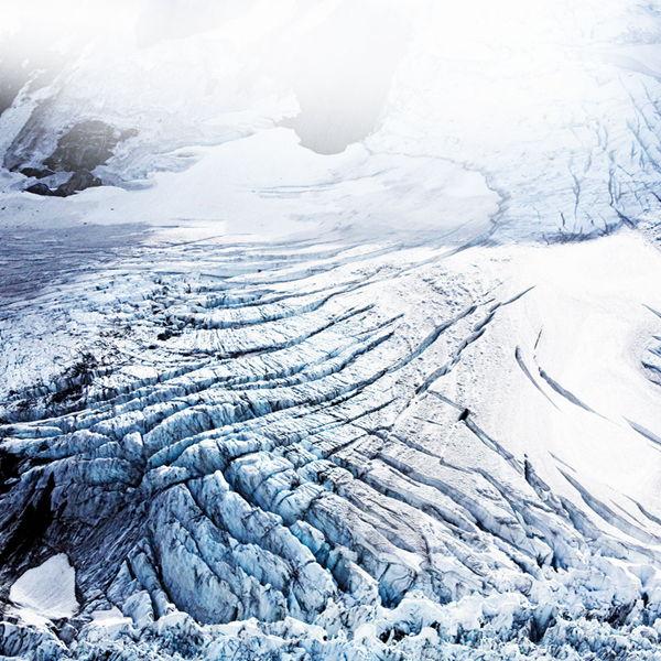Névé formation above Fox Glacier, New Zealand.