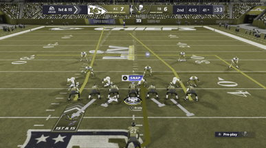 The Tampa Bay offense's routes in Madden NFL 21 simulated as seen by someone with deuteranopia (red-green color blindness). Players who have deuteranopia will find it difficult to distinguish between the different players' types of routes.