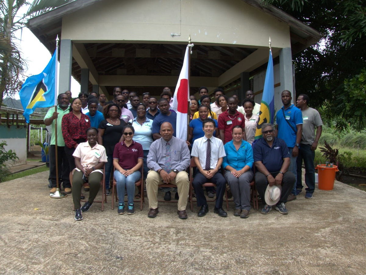 Participants in ICTs for CSA Workshop with Trainers and Honourable Ezechiel Joseph, Minister of Agriculture, Saint Lucia