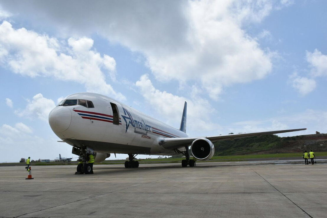 B767 Cargo Aircraft at Argyle International Airport in St. Vincent and the Grenadines.