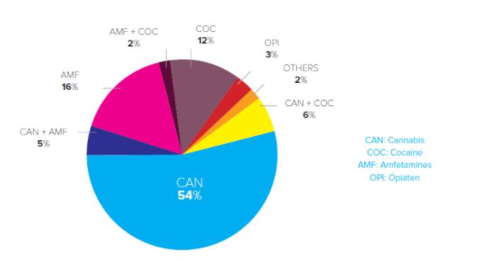 Types de drogues dans les échantillons de sang positifs (jusqu'en 2016)