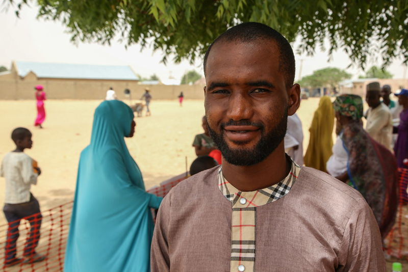"""Solomon Jakob, an unemployed health officer, 25 years old, in Damaturu, capital of the Nigerian northern state of Yobe. """"It is good to be vaccinated against meningitis, because it will prevent you from developing a handicap, a disability, a deformity, becoming deaf or blind."""" Photographer: Igor Barbero/MSF"""
