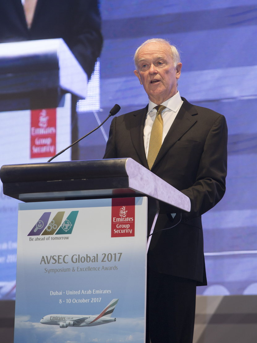 Sir Tim Clark, President, Emirates airline delivering the opening address at AVSEC Global 2017