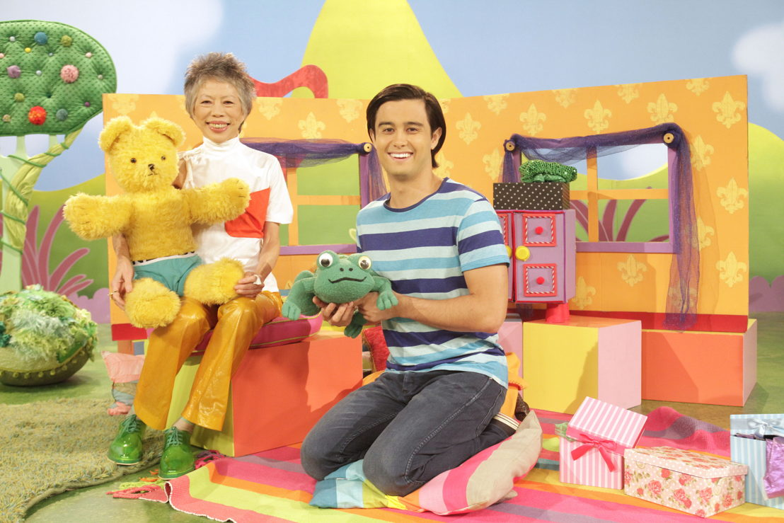 ABC KIDS' Play School's Big Ted and Fergus with Lee Lin Chin and Play School presenter Takaya Honda - Play School Celebrity Covers