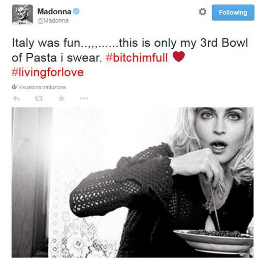 Tweet Madonna con spaghetti