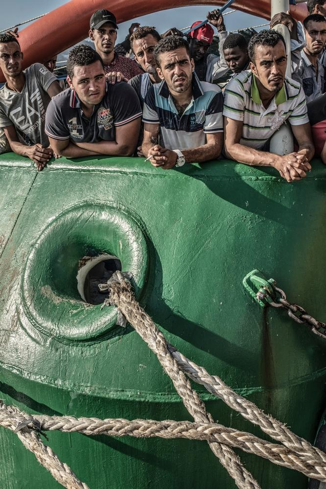 Photographer: Francesco Zizola<br/><br/>Caption: On board the Bourbon Argos following a rescue in the Mediterranean. The refugees will be taken to Italy.