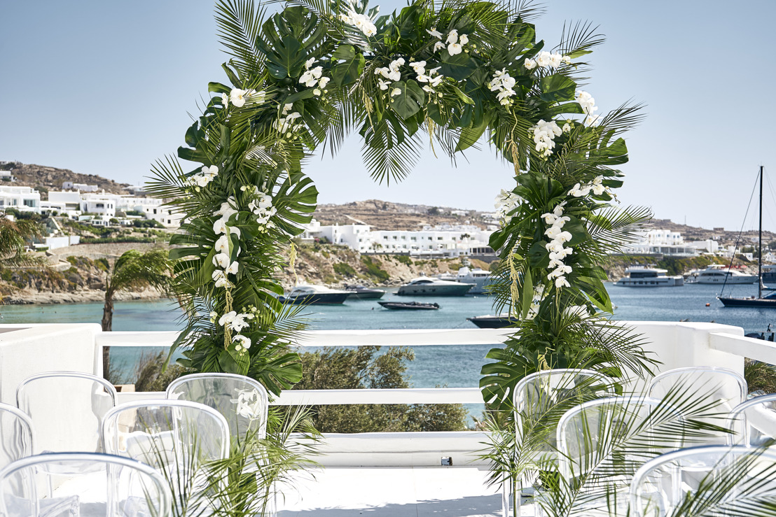 Host unforgettable weddings and events on the famous Psarou beach.