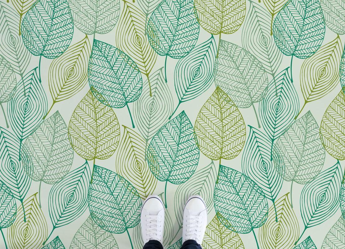 Leaf     <br/>Illustrated Leaves Vinyl Flooring