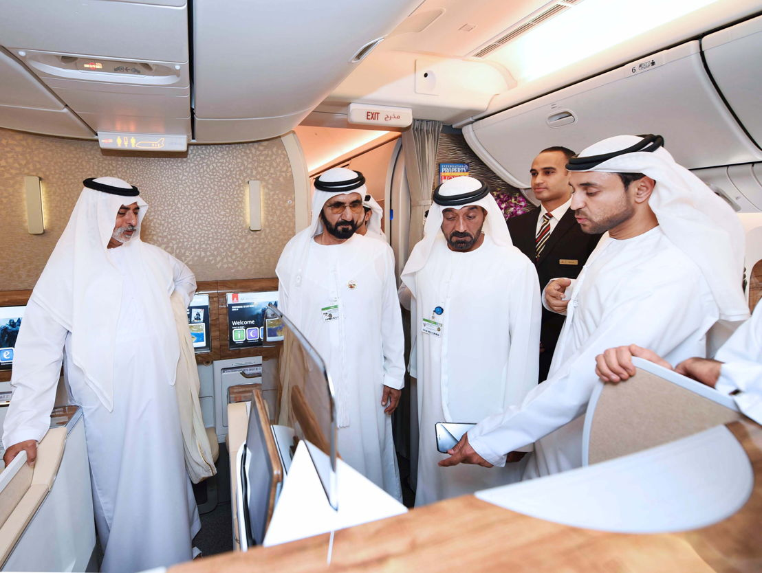 His Highness Sheikh Mohammed bin Rashid Al Maktoum, Vice President and Prime Minister of the UAE and Ruler of Dubai tours the new Boeing 777-300ER aircraft on the first day of the Dubai Airshow with HE Sheikh Nahyan bin Mubarak Al Nahyan and HH Sheikh Ahmed bin Saeed Al Maktoum.