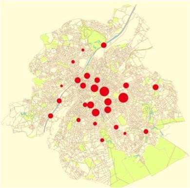 Les comptages ont eu lieu à 26 endroits différents