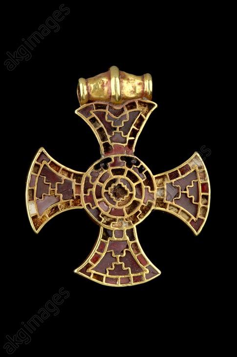 Pendant (Ixworth Cross), Anglo-Saxon Period, c. 7th century. Artist: Unknown.<br/>AKG5845825