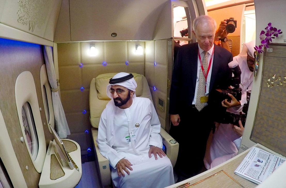 His Highness Sheikh Mohammed bin Rashid Al Maktoum, Vice President and Prime Minister of the UAE and Ruler of Dubai also visited the new game changing fully enclosed Emirates Boeing 777 First Class Suite on the first day of the Dubai Airshow 2017.