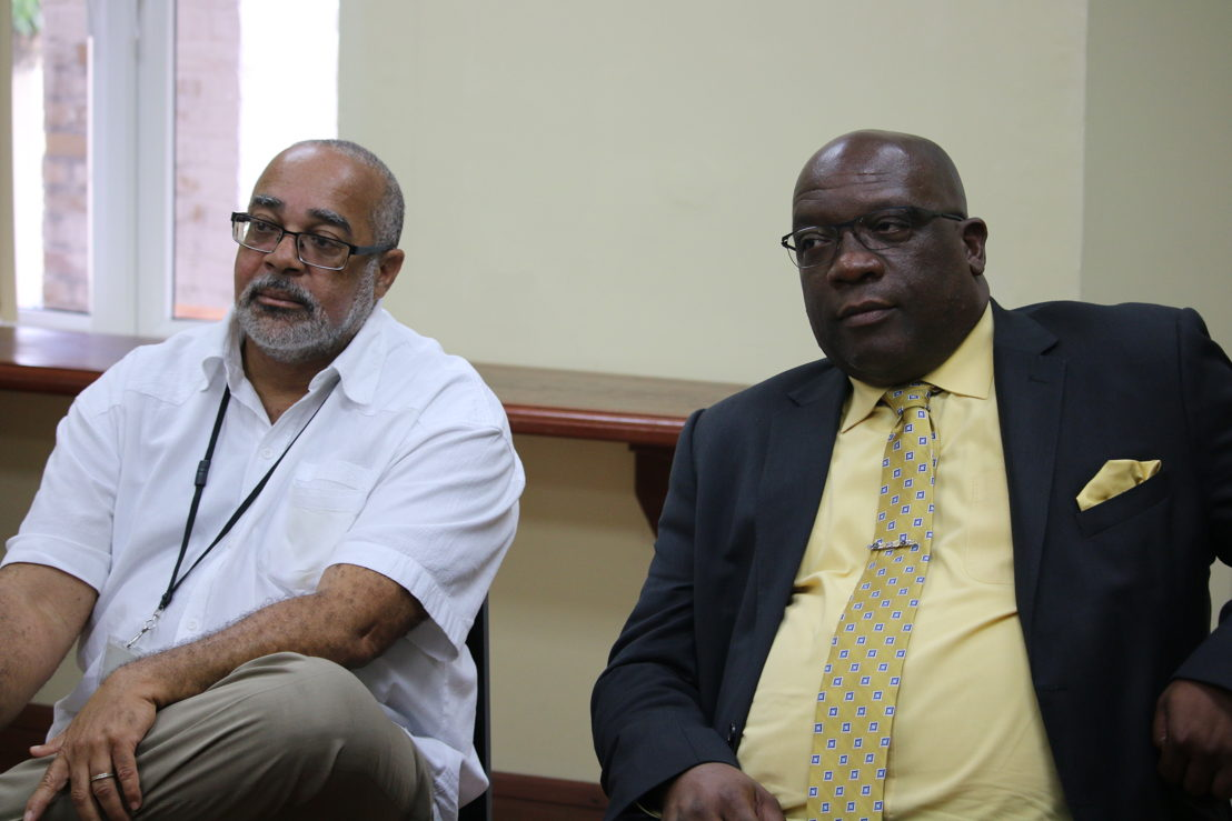 Prime Minister Harris pays courtesy visit to the OECS Commission in May 2017 as Chairman of the OECS Authority.