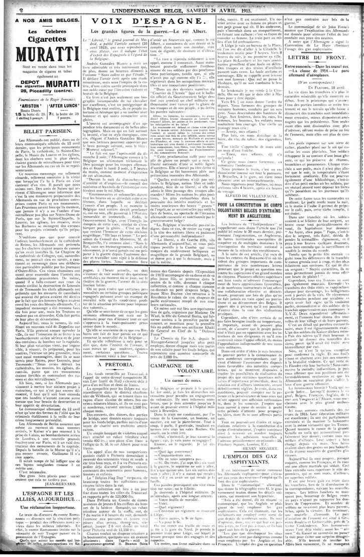 L'Indépendance Belge du 24 avril 1915 (imprimé en exile à Londres)