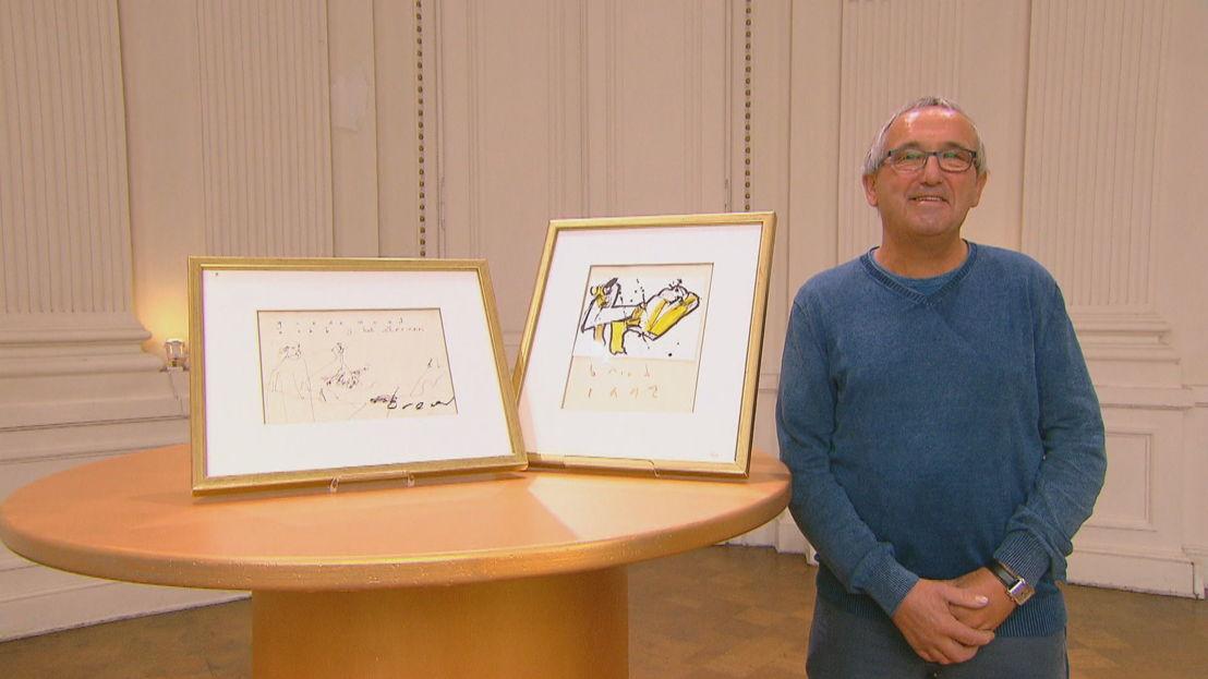 Jan met twee werken van Herman Brood