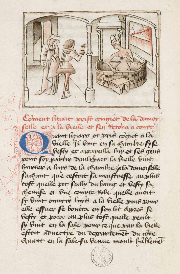 Liziart épie Euriant dans son bain<br/>miniature du Maître de Wavrin dans le Roman de Gérard de Nevers<br/>KBR- ms. 9631 – folio 12 verso