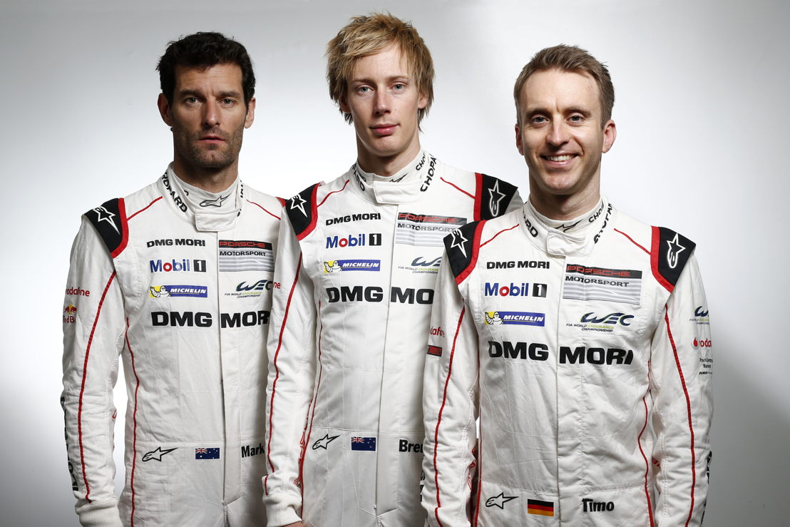 Porsche Team: Mark Webber, Brendon Hartley, Timo Bernhard (l-r)