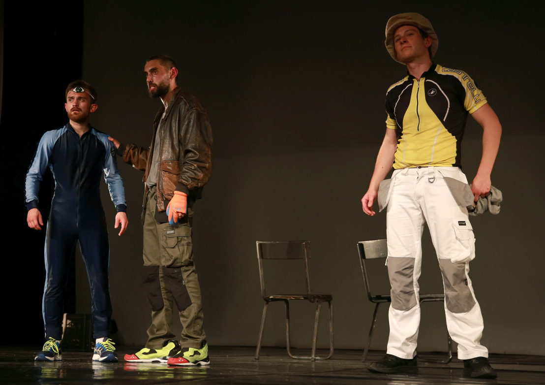 Nathan Parkinson, Zachary Hunt and Tom Roe in Police Cops in Space. Image by Nardus Engelbrecht