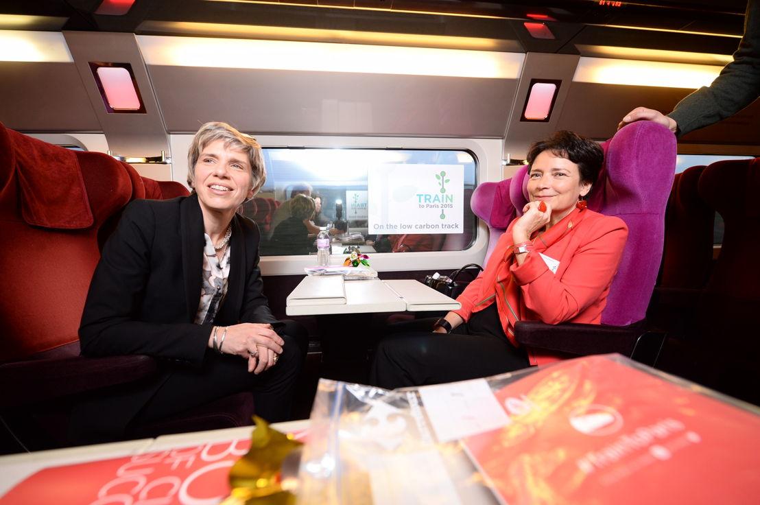 Agnès Ogier, CEO van Thalys en Geneviève Pons-Deladrière, CEO WWF EU