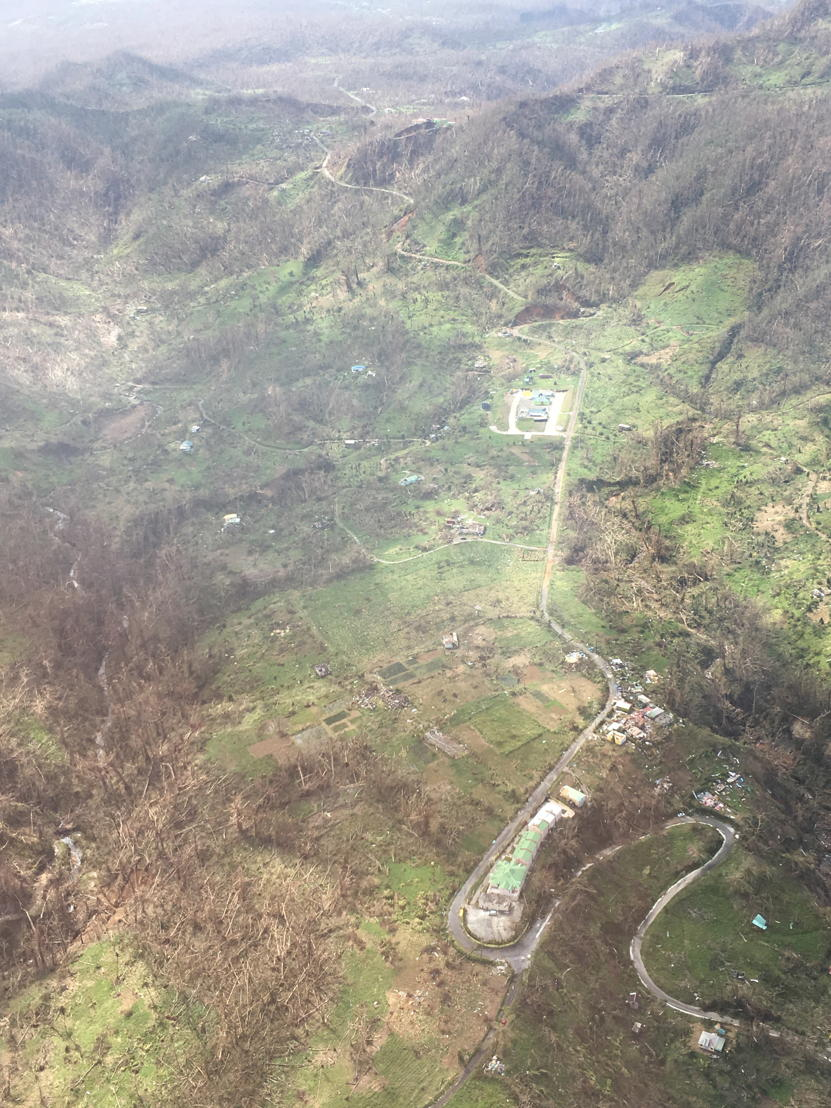 Aerial view of Dominica after the passage of hurricane Maria
