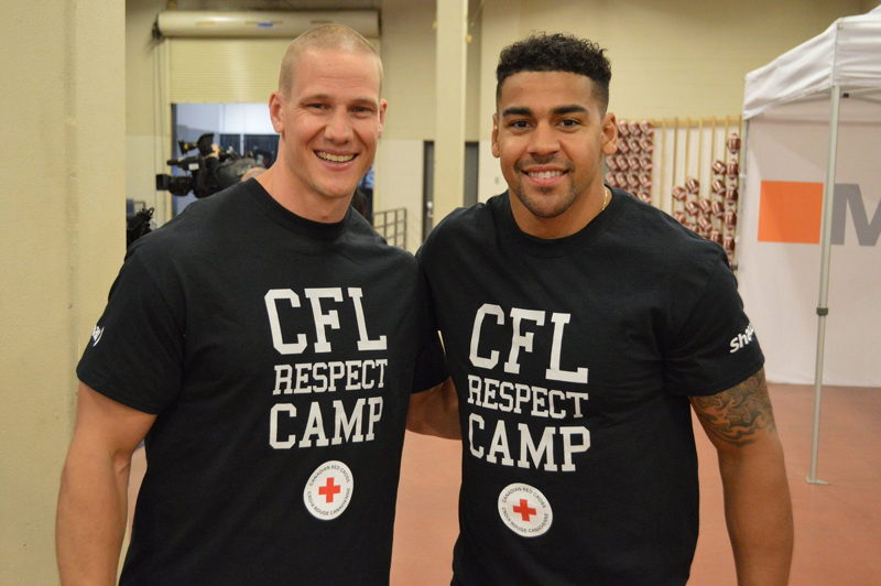 Sam Giguere et Andrew Harris lors de l'événement CFL Respect Camp with Red Cross, présenté par Shaw. Crédit : LCF