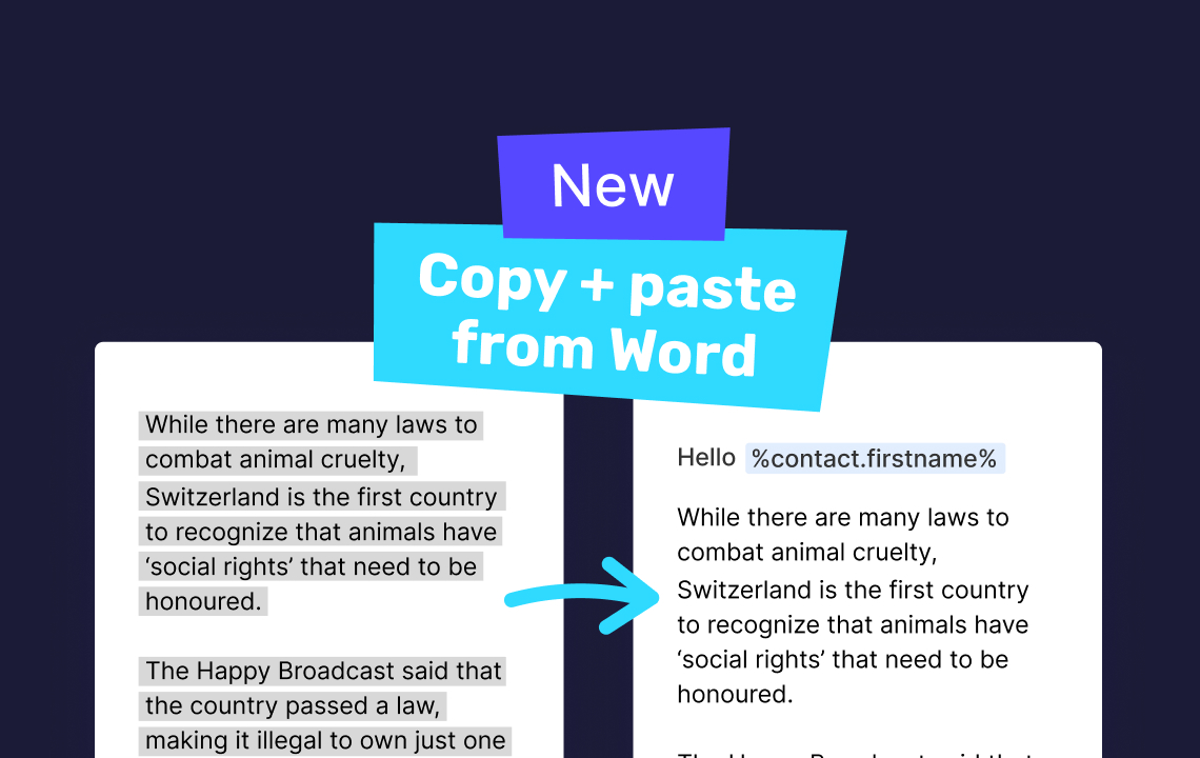 Help: Copy + paste content from Word docs