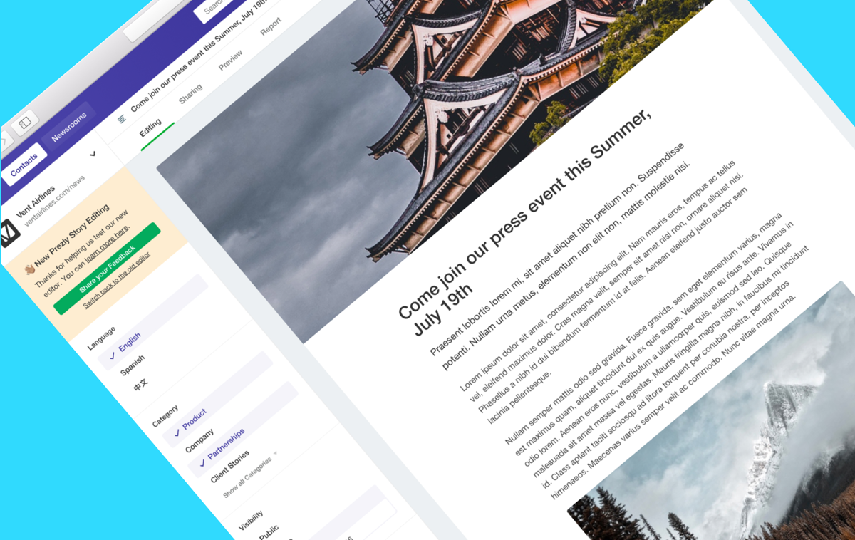 News: New in Prezly: A better place to create your Stories