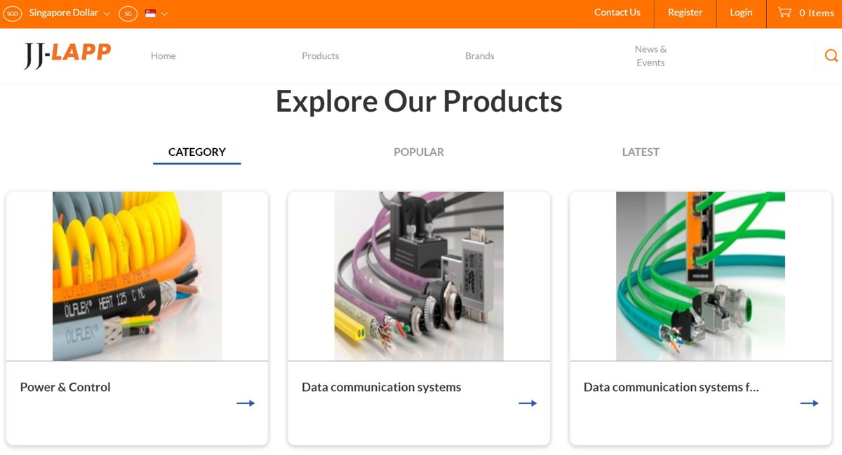 JJ-LAPP's new e-shop offers a range of products and solutions to customers from anywhere, at any time