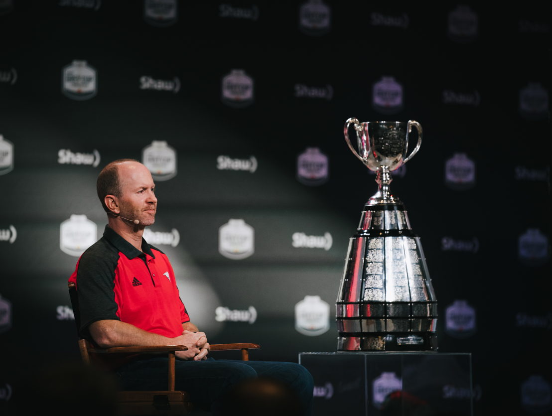 Dave Dickenson at the Grey Cup Head Coaches' Press Conference. Photo credit: Johany Jutras/CFL.ca