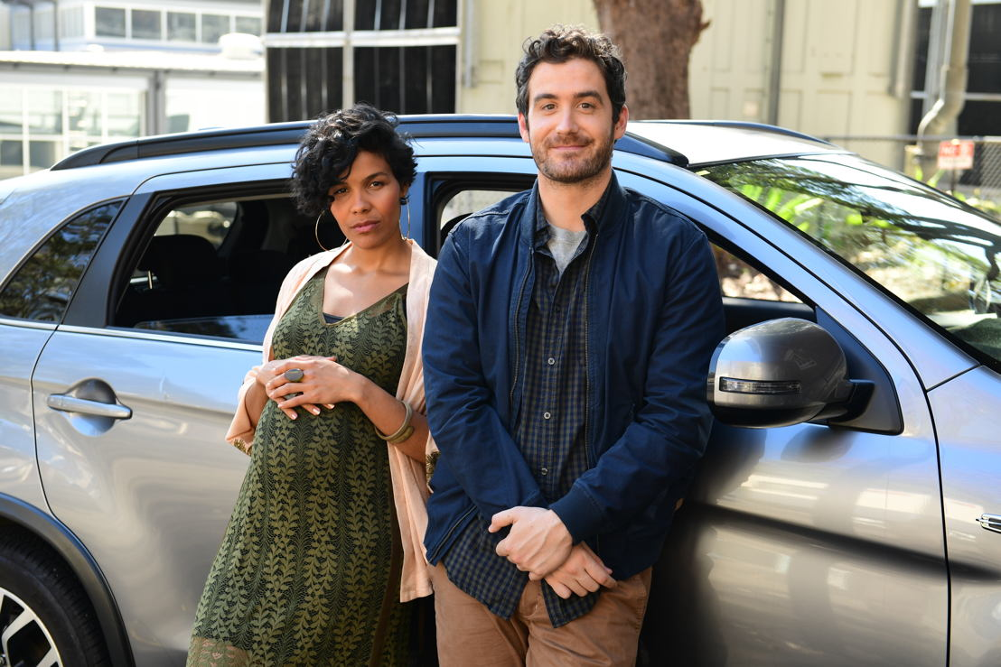 """Zahra Newman as """"Beck"""" and Sam Cotton as """"Ben"""" in ABC's Diary of an Uber Driver. Photo Credit: Tony Mott"""