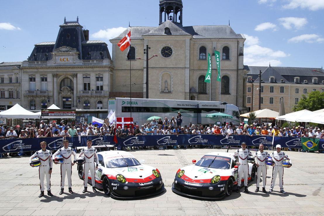 Porsche 911 RSR, Porsche GT Team (92): Dirk Werner, Michael Christensen, Kevin Estre, Porsche GT Team (91): Richard Lietz, Frederic Makowiecki, Patrick Pilet (l-r)