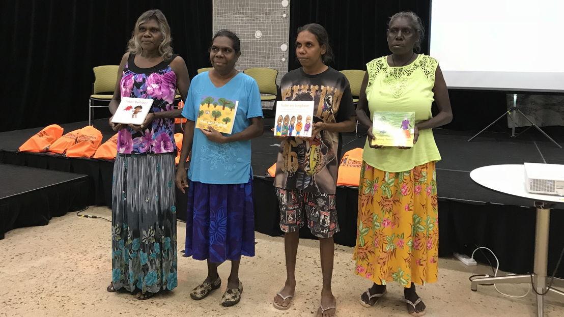 Binjari women authors from L-R: Maureen Hodgson, Karen Manbulloo, Stella Raymond and Marilyn Frith. Image supplied