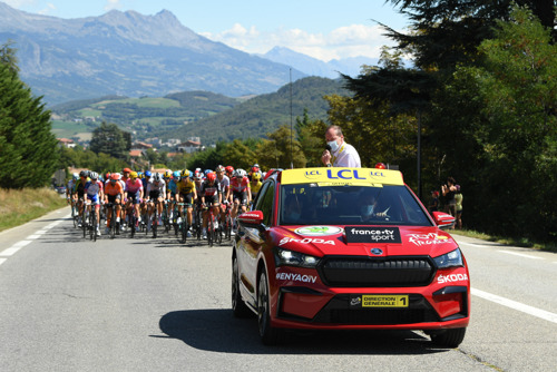 Pictures of the new ŠKODA ENYAQ iV appearing as the 'Red Car' at the Tour de France