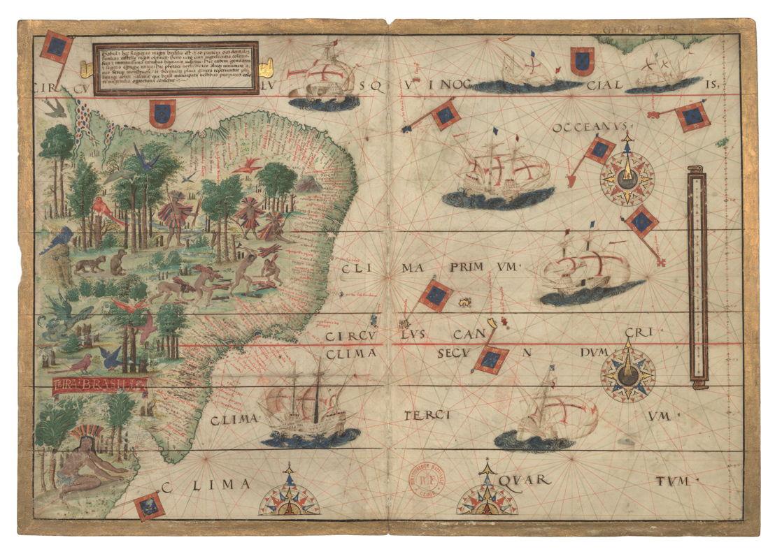 À la recherche d'Utopia © Carte du Brésil dans :  Atlas de Dauphin, Dieppe, vers 1538. La Haye, Bibliothèque Royale, Bibliothèque nationale des Pays-Bas.