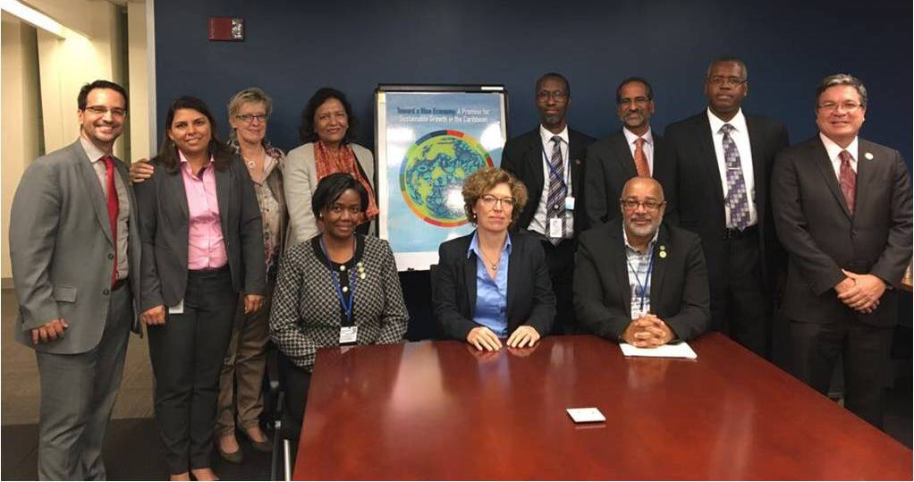 (L-R Front) Louanne Gilchrist, Saint Vincent and the Grenadines Ambassador to the USA; Karin Kemper, WB Senior Director Environment and Natural Resources Global Practice; Didacus Jules, Director General of the OECS Commission. (L-R Back) Juan Diego Alonso, WB Senior Country Officer for the Caribbean; Sylvia Michele Diez, WB Task Team Leader CROP, Environmental Specialist; Sabine Hader, WB Country Manager for the Caribbean; Tahseen Sayed, WB Director for the Caribbean; Leslie Glen, WB Advisor to Executive Director; Pawan Patil, WB Co-Task Team Leader CROP, Senior Economist; David Robin, Programme Coordinator of Ocean Governance and Fisheries at the OECS Commission; Francisco Carneiro, WB Program Leader for the Caribbean.