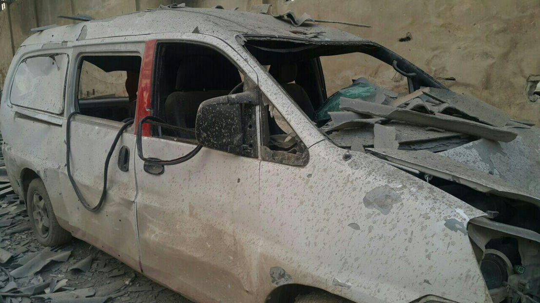 Damaged hospital car<br/><br/>The last two functional ambulances in Al-Marj neighbourhood (in the East Ghouta besieged area near Damascus) were destroyed beyond repair in an aerial bomb attack on Monday 05 December 2016. They were parked in the hospital's warehouse/garage, very near to the makeshift hospital's location. Two hospital cars, used to transporting supplies and medical personnel, were also destroyed in the blast. The lack of ambulances will have an impact on the ability to quickly treat wounded when there is bombing or shelling in the area, but above all it will affect the capacity to refer the most sick patients to larger secondary referral hospitals. The makeshift hospital in Al-Marj is not equipped for complex or long-term in-patient hospital care, and this could have a big impact on the ability to refer patients for appropriate secondary care. Photographer: MSF