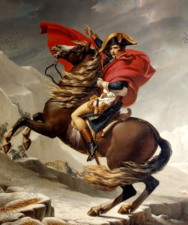"""Image ID: AKG15898<br/><br/>Napoleon crossing the Alps<br/><br/>Napoleon I Bonaparte.<br/>Emperor of the French (from 1804);<br/>Ajaccio (Corsica) 15.8.1769 – Longwood (St. Helena) 5.5.1821.–<br/>""""Napoleon crossing the Alps"""" (St. Bernhard's Pass, 20th May 1800).<br/><br/>Painting (replica), by Jacques Louis David (1748–1825). <br/>Oil on canvas, 272 × 232 cm.<br/>Berlin, Schloß Charlottenburg."""