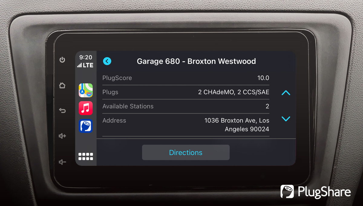PlugShare location detail screen in Apple CarPlay