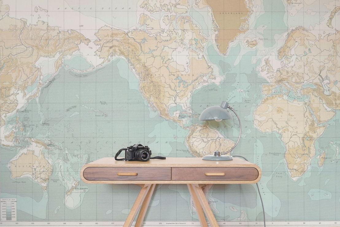 Faded World Map Wallpaper Mural