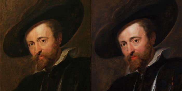 Voor en na restauratie, Peter Paul Rubens, Zelfportret, Rubenshuis Antwerpen, foto Rubenshuis en KIK-IRPA Brussel