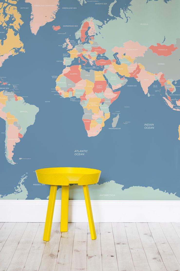 Clean World Map Wallpaper Mural