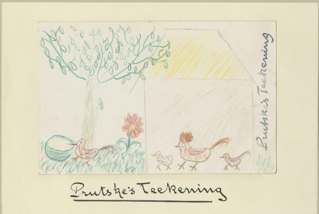 """Van het boek """"Prutske"""", waarin Streuvels over zijn dochter Dina vertelt, verscheen een editie met tekeningen van Dina. Al deze tekeningen, waarvan er aantal het boek uiteindelijk nooit haalden, zijn aanwezig in het Streuvelsarchief."""