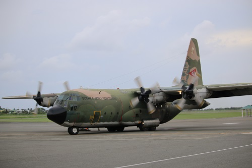 A National Bolivarian Armed Forces C-130 arrives in Saint Lucia with vital emergency aid and humanitarian specialists
