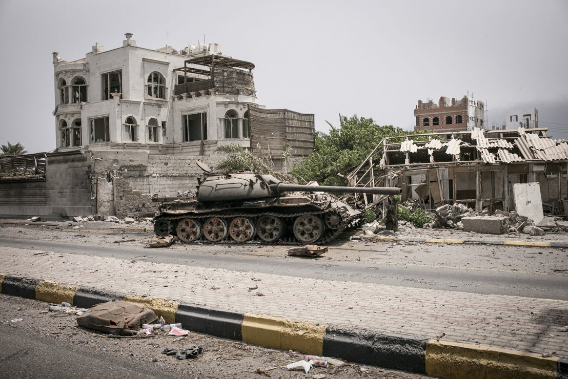 Khormaksar district an area once popular with tourist hotels next to the airport in Aden lies in ruins. July 2015. Photographer: Guillaume Binet