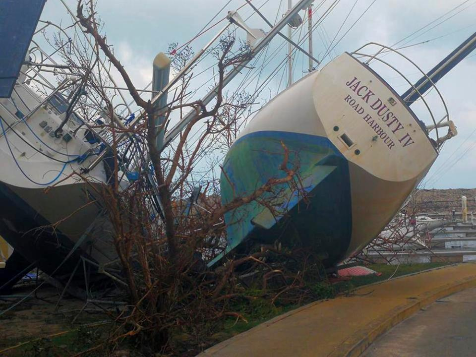 Boats washed ashore after the passage of Hurricane Irma in the British Virgin Islands © AP