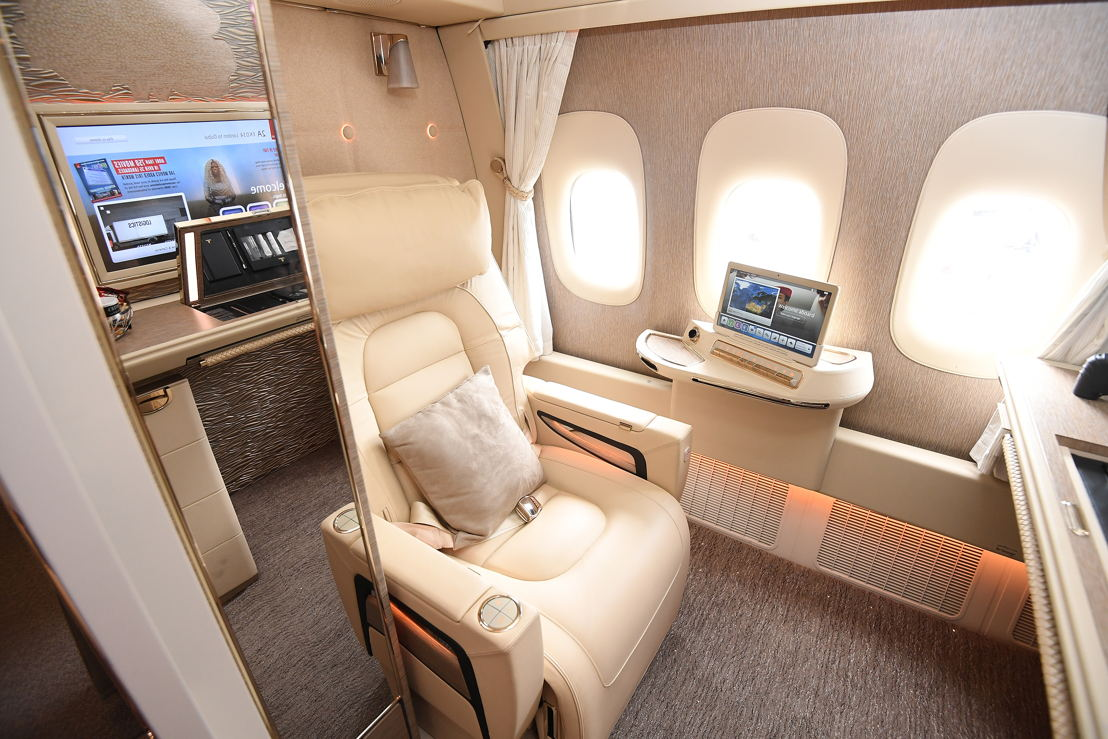 Emirates fully enclosed First Class private suite.